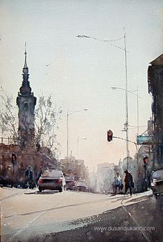 Watercolor, Rainy morning in Belgrade, 38x56cm-Dusan Djukaric