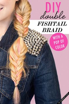 DIY double fishtail braid with a pop of pink // seriously cool look!