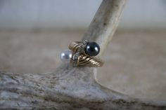 Vintage Faux Pearl black pearl and CZ goldtone ring size 6