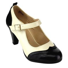 1930s Style Shoes  Round Toe Two Tone Mary Jane Pumps $34.99 AT vintagedancer.com