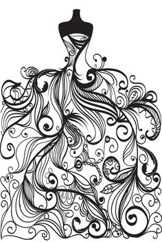 free vector Wedding clip art coloring page for grown ups