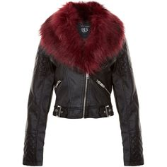 New Look Teens Burgundy Leather-Look Faux Fur Collar Jacket (£25) ❤ liked on Polyvore featuring outerwear, jackets, burgundy, slim jacket, faux leather jacket, synthetic leather jacket, long sleeve jacket and zip jacket