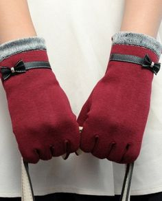 Chic Faux Leather Small Bow and Fake Fur Embellished Gloves