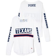 PINK Houston Texans Long Sleeve Football Tee ($35) ❤ liked on Polyvore featuring tops, t-shirts, white t shirts, pink t shirt, long sleeve graphic tees, graphic tees and white tops