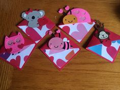 Valentine corner book marks made with cricut create a critter 2.