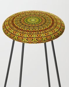 Spiritual Autumn Garden Mandala Bar Stool by David Zydd Mandala Bar, Extra Tall Bar Stools, Bohostyle, Autumn Garden, Mandala Coloring, Counter Stools, Orange, Floral Design, Furniture Design