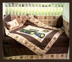 Custom made new 7 piece JOHN DEERE Brown Plaid Tractor Crib Bedding Set