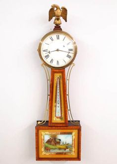 Banjo, Clocks, American, Antiques, Antiquities, Antique, Watches, Clock
