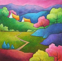 Candy-coated Morning by Gillian Mowbray Landscape Art, Landscape Quilts, Watercolor Landscape, Watercolor Paintings, Acrylic Paintings, Art Deco Design, Painting For Kids, House Painting, Art Images