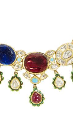 Raj Navratna Choker by Sanjay Kasliwal Jaipur, Indian Jewelry, Sapphire, Chokers, Jewellery, Jewels, Gemstones, Rings, Collection