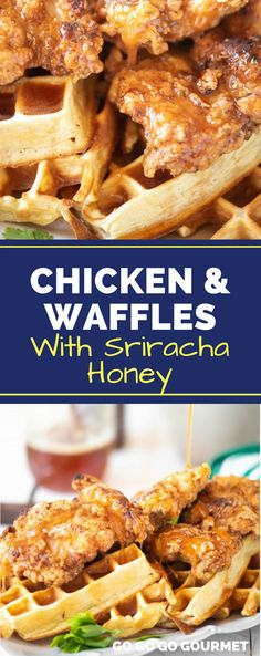 easy, Southern-style Chicken and Waffles recipe is perfect for your next brunch! Paired with a sweet and spicy honey sriracha sauce, you can serve it as either an appetizer, breakfast or lunch! Chicken And Waffles Recipe Easy, Easy Waffle Recipe, Fried Chicken And Waffles, Crispy Chicken, Waffle Recipes, Chicken Recipes, Spicy Honey Chicken, Pollo Y Waffles, Gourmet