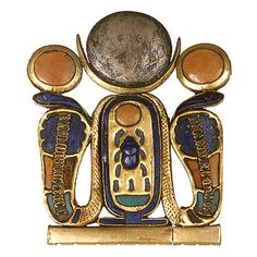 An ancient Egyptian gold, silver and glass jewelry clasp with a cartouche of Pharaoh Tutankhamun& throne name at the centre, topped by a combined crescent and full moon and guarded by a pair of uraei. Ancient Egyptian Jewelry, Egyptian Scarab, Egypt Jewelry, Ancient Beauty, Egyptian Beauty, Jewelry Clasps, Gold Jewellery, Jewlery, Tutankhamun