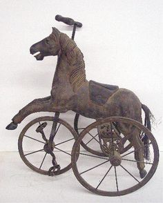 Carved Wood Tricycle ( I have a similar one with a busted foot and no handle) Antique Rocking Horse, Vintage Horse, Rocking Horses, Belle Epoque, Wooden Horse, Tree Carving, Horse Drawings, Carousel Horses, Cool Bicycles