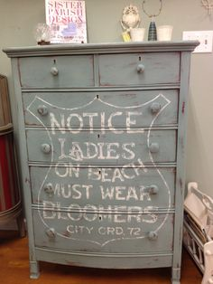 Chalk painted dresser with beach graphic
