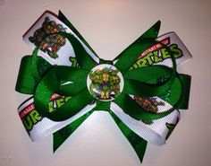 Totally awesome Ninja turtle bow, great for birthday parties as an accessory or favors! Check out this item in my Etsy shop https://www.etsy.com/listing/176682916/teenage-mutant-ninja-turtles-hair-bow