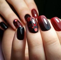 The effective nail design made on the base of the gradient technique can be if you use black and cherry ...