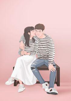 Cute Couple Drawings, Cute Couple Art, Anime Couples Drawings, Cute Anime Couples, Cute Drawings, Couple Cartoon, Girl Cartoon, Cartoon Art, Cute Couple Wallpaper
