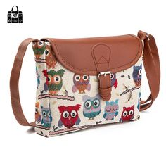 9.67$  Buy now - http://alidte.shopchina.info/go.php?t=32808070418 - RoseDiary New fashion owl embroidered canvas zipper bag lady Handbags Shoulder Bag Women girls messenger bags 9.67$ #shopstyle