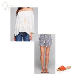 """""""Love Stitch Off Shoulder Top and Printed Shorts"""" by socialthreads ❤ liked on Polyvore featuring Dolce Vita and April Soderstrom Jewelry"""