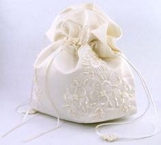 Amazon.com : Satin Bridal Wedding Small Money Bag with Pearl-Embellished Floral Lace for Dollar Dance, Bridal Purse, and Other Special Occasions #E1DEDBiv (IVORY) : Fashion Headbands : Beauty