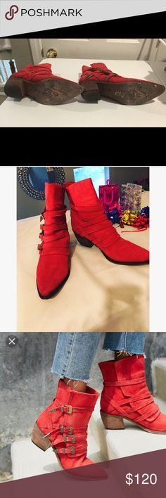 """COMING SOON 🎉Free People Red  Mason Boots 10.5 🔥 Arriving Soon 🎉Free People Red Suede Mason Boots w/ Buckles design. Labeled as size 41 which translates to size 10.5 Made In Portugal Mild wear  Very Faint stain near toe area see photos  2"""" heel  Bottom of soles show some wear , has Free People logo carved into it  EUC Don't have to unbuckle all buckles to put on or take off, only the bottom ones Has a separation that opens to insert foot , no zippers Featuring another listing """"Not For…"""