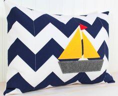 Nursery Pillow Cover - Navy Blue Chevron - Boy Nursery Decor - Nautical Sail Boat - 12 x 16 Inches