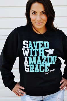 081-BLACK/TEAL SWAG-SWEATER by JCLU Forever Christian t-shirts. SIZE: SMALL $24.99