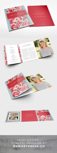 Daisy funeral program template, Customised by a professional Graphic Designer for only $99.90. Designed by Memory Press, available at memorypress.co