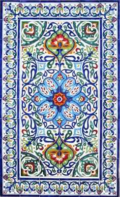 DECORATIVE PERSIAN TILES: Persian design mosaic panel hand painted wall mural home kitchen bathroom pool shower patio art tile 60in x 36in