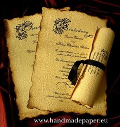25 Classy, Old English Style, Renaissance, Vintage, Old fashioned, Personalized Wedding Invitations with wax seals made by our company Horizon Team LTD Parchment paper Old English Style, Renaissance Wedding Invitations folded or scrolls with wax seals and ribbons. Available