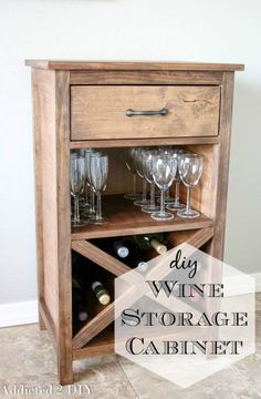 Build this gorgeous DIY wine cabinet in as little as a day with this step-by-step tutorial and printable plans. It's a beautiful addition to any home! # diy wine rack plans how to build DIY Wine Cabinet - With Printable Plans - Addicted 2 DIY Wine Storage Cabinets, Wine Rack Cabinet, Corner Wine Cabinet, Corner Wine Rack, Furniture Projects, Diy Furniture, Outdoor Furniture, Armoires Diy, Wine Rack Plans
