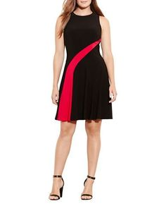 Lauren Ralph Lauren Plus Fit-and-Flare Sleeveless Jersey Dress Women's