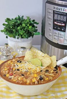 Instant Pot Mexican Chicken and Rice Soup served in a white bowl, with Instant Pot in the background Family Fresh Meals, Easy Family Dinners, Instant Pot Pressure Cooker, Pressure Cooker Recipes, Mexican Chicken And Rice, My Favorite Food, Favorite Recipes, Crockpot Recipes, Cooking Recipes