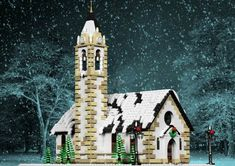 LEGO Winter Village Church - building instructions and parts list. Lego Christmas Sets, Lego Christmas Village, Lego Winter Village, Christmas Ideas, Christmas Decorations, Church Building, Lego Building, Lego Gingerbread House, Harry Potter Advent Calendar