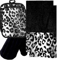 Animals Bordering Africa Animal Print Kitchen Linen Set Black Snow Leopard 35