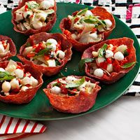 Antipasti Bites: Bake Salami Slices at 400F for 10 Minutes in Muffin Tins to Get Formed Cups.
