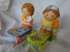 Vintage-80s-New-Ray-Novedad-Juguetes-1988-Tire-hacia-atras-amp-Go-Patineta-Kids-Boy-amp-Girl