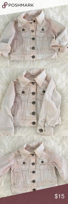 Baby Gap 1969 Blush Denim Jacket Adorable blush pink Denim jacket for the little diva in your life 💗 Add some fun to her outfit, looks really cute over dresses! Last pic is not same jacket, just style inspo ☺️ Baby Gap Jackets & Coats Jean Jackets