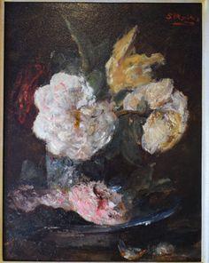 Sientje van Houten - Mesdag (1834-1909) - Bloemstilleven  Fraai weergegeven voorstelling van bloemen door de kunstenaresse Sientje van Houten - Mesdag. Het werk is in goede conditie en rechtsboven gesigneerd. Ingelijst in een handgemaakte lijst van Gehring & Heijdenrijk.Afmetingen met lijst: 455 cm x 38 cm (hxb)Afmetingen zonder lijst: 32 cm x 242 cm (hxb)Biografie.Sientje Van Houten werd in december 1834 in Groningen geboren. Een van haar broers was de latere minister Samuel van Houten…