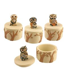 Look at this Owl Trinket Jar Set on #zulily today!