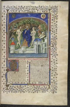 Paulus Orosius, Histoire Ancienne, 440 x 295 mm, c. 1415, Creation, illuminated partly by the MASTER OF BOETHIUS FR. 12459 (see also Apocalypse Master) Egerton 912, f. 10
