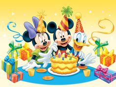 Disney Edible Photo Cake Topper 1 x PRINT with Mickey Mouse, Minnie Mouse and Donald Duck! Mickey Mouse E Amigos, Mickey E Minnie Mouse, Mickey Mouse Parties, Mickey Mouse And Friends, Baby Mickey, Belated Birthday Wishes, Birthday Greetings, Free Birthday, Cousin Birthday