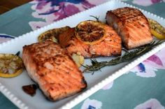 Pan seared Salmon with Lemon, Garlic and Rosemary Recipe