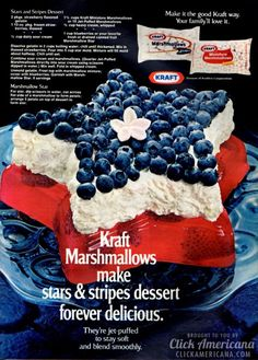 Celebrate the USA with these red white and blue stars & stripes desserts & - Click Americana Retro Recipes, Vintage Recipes, Loaf Recipes, Dessert Recipes, Fun Desserts, Patriotic Desserts, Party Sandwiches, Gluten Free Blueberry, Cookout Food