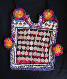 parche etnico monedas boho tribal cazadora chaqueta pechera patch kuchi afghan vintage gyspy india banjara bohemian coin choli azulcasinegro