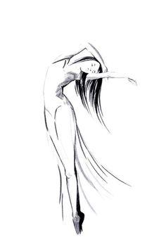Minimalist drawing. Ballerina.