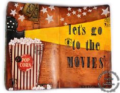 Clips-n-Cuts | Art journal – Let's go to the movies | http://www.clips-n-cuts.com with a journal page using Tim Holtz, Ranger, Idea-ology, Sizzix and Stamper's Anonymous products; May 2015