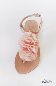 Leather sandals with Light pink and light yellow by MyMarmade, €37.00