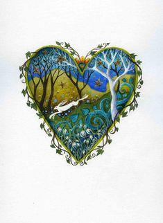 Heart art print. 'Snow Drop Wood'.  By Amanda by earthangelsarts, £15.00
