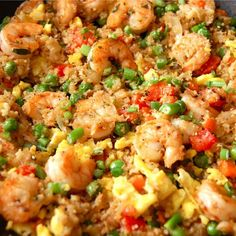 "GF / Paleo Shrimp Fried ""Rice""- a healthier version of fried rice. Uses cauliflower to replace the rice. It's low carb and tastes just as good!"
